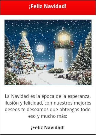 Ejemplo web móvil felicitación Navidad