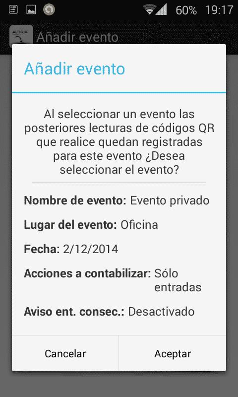 Aplicación móvil control acceso QR - Configuración evento