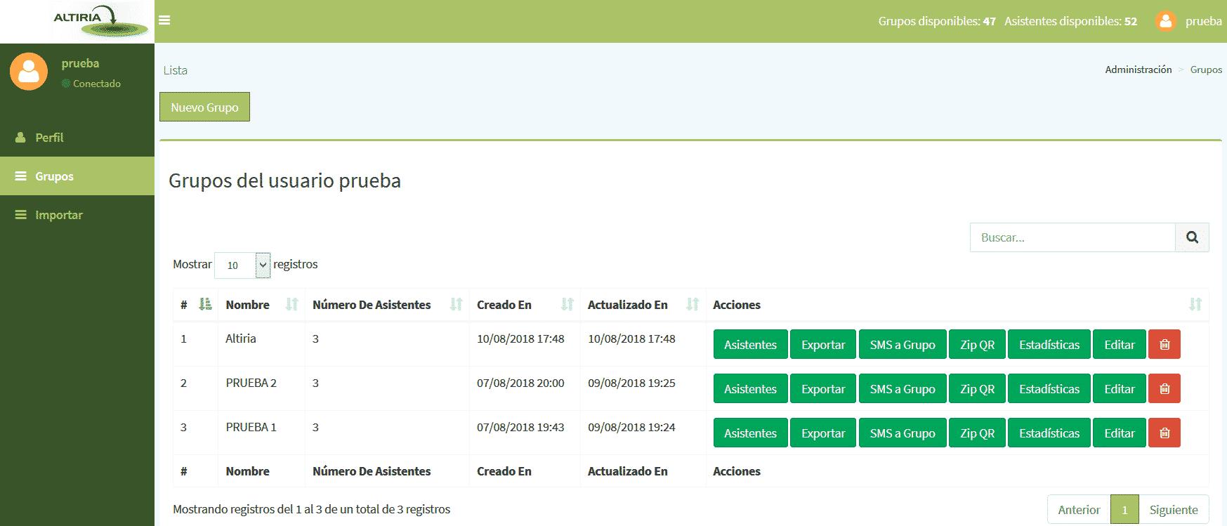 Panel web de control de acceso con códigos QR