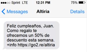 SMS efectivo personalizado