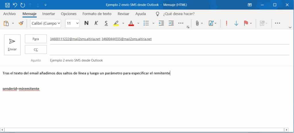 Enviar SMS desde Outlook. Remitente del mensaje