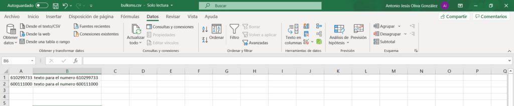 Ejemplo Excel Mail2SMS masivo bulk