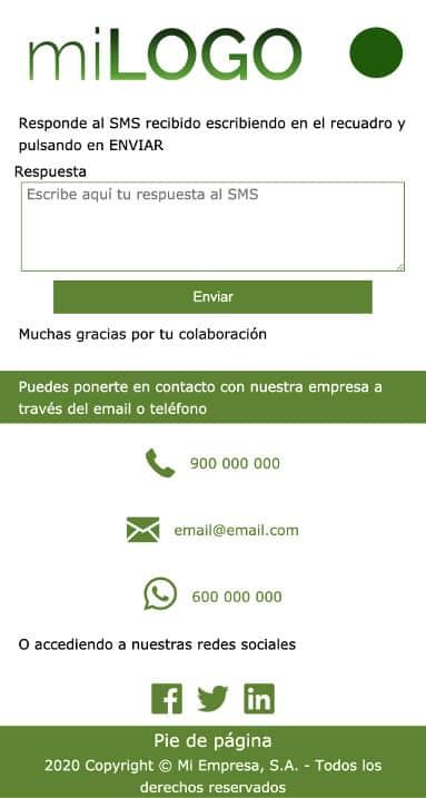 responder SMS con web móvil