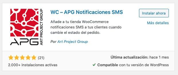 Woocommerce SMS. Plugin APG Notificaciones