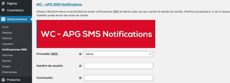 Woocommerce SMS. Nuevo menu y configuración Altiria