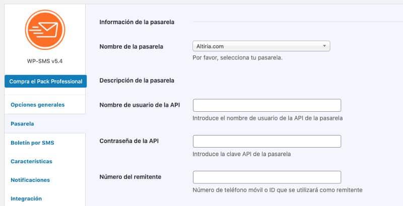 Wordpress SMS. Configurar altiria como proveedor