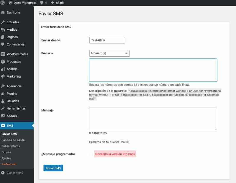 Wordpress SMS. Envío simple WP-SMS
