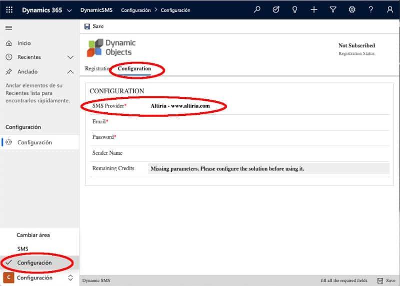 Configuración Microsoft Dynamics SMS