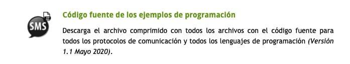 Envio SMS PHP. Paso 3. Descarga e código de ejemplo